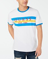 e50ef84015 GUESS Men's Striped Logo T-Shirt