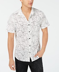 GUESS Men's Floral Mesh Shirt