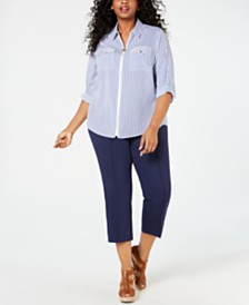 MICHAEL Michael Kors Plus Size Striped Utility Top & Capri Pants