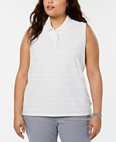 7c07a3d57 Tommy Hilfiger Plus Size Eyelet Lace Polo Top, Created for Macy's