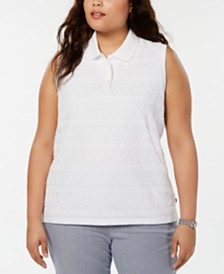 Tommy Hilfiger Plus Size Eyelet Lace Polo Top, Created for Macy's