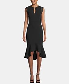 Betsy & Adam Keyhole Lace-Flounce Midi Dress