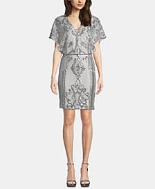 Sequin Short-Sleeve Blouson Dress