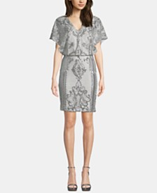 Betsy & Adam Sequin Short-Sleeve Blouson Dress
