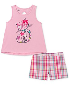 Little Girls 2-Pc. Cat Tank Top & Plaid Shorts Set