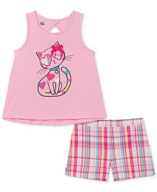 Kids Headquarters Toddler Girls 2-Pc. Cat Tank Top & Plaid Shorts Set