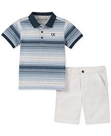 Calvin Klein Little Boys 2-Pc. Stripe Polo & Twill Shorts Set