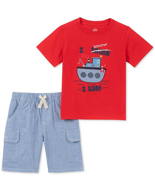 Kids Headquarters Toddler Boys 2-Pc. Tugboat Appliqué T-Shirt & Stripe Shorts Set