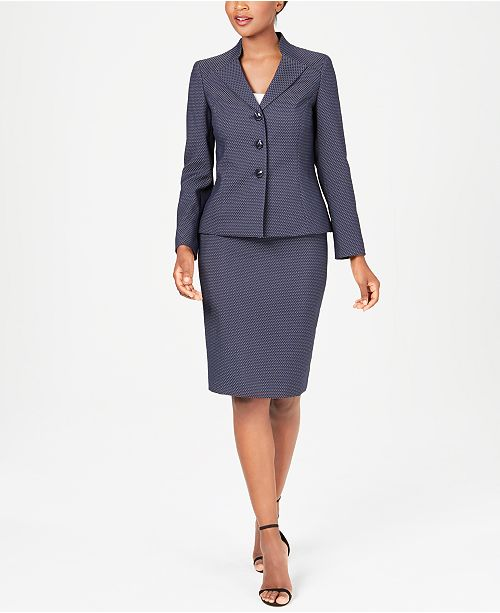 Le Suit Three-Button Piqué Skirt Suit