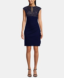 B&A by Betsy & Adam Ruched Lace Sheath Dress
