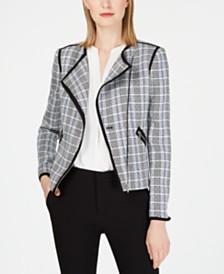 Calvin Klein Asymmetrical-Zip Plaid Jacket