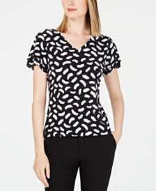 Calvin Klein Petite Printed Ruffle-Sleeve Top