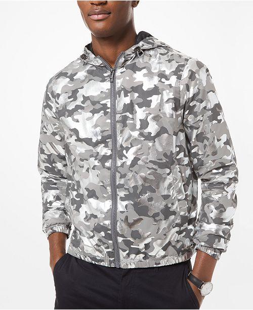 Michael Kors Men's Metallic Camouflage Hooded Jacket