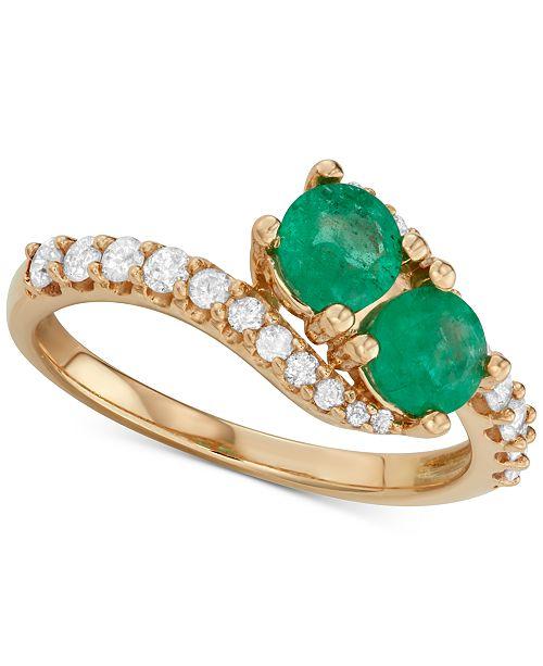 Macy's Emerald (3/4 ct. t.w.) & Diamond (3/8 ct. t.w.) Two Stone Ring in 14k Gold