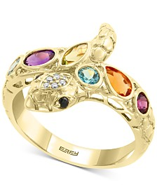 EFFY® Multi-Gemstone (1 ct. t.w.) & Diamond Accent Snake Ring in 14k Gold