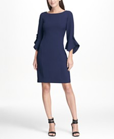 DKNY Ruffle Detail Sleeve Sheath Dress