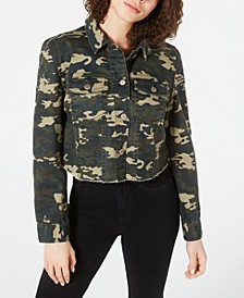 Juniors' Printed Cropped Denim Jacket