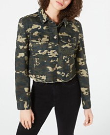 Tinseltown Juniors' Printed Cropped Denim Jacket