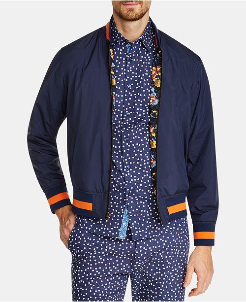 Tallia Men's Slim-Fit Reversible Koi Bomber Jacket