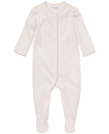 폴로 랄프로렌 여아용 우주복 Polo Ralph Lauren Baby Girls Embroidered Cotton Coverall,Delicate Pink