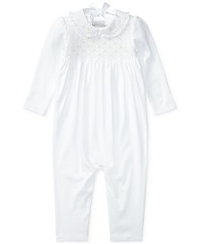 Polo Ralph Lauren Baby Girls Smocked Cotton Coverall