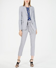 Calvin Klein Petite One-Button Jacket, Sleeveless Pleat-Neck Top & Tie-Waist Pants