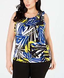 Calvin Klein Plus Size Printed Pleat-Neck Top