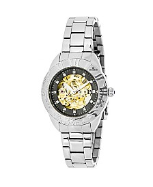 Empress Godiva Automatic Silver Black Dial, Stainless Steel Watch 38mm