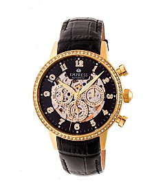 Empress Beatrice Automatic Gold Case, Black Dial, Black Leather Watch 38mm