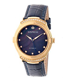 Empress Francesca Automatic Navy Leather Watch 35mm