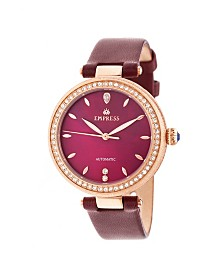 Empress Louise Automatic Burgundy Leather Watch 36mm