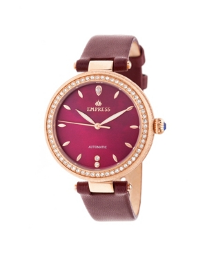 Louise Automatic Burgundy Leather Watch 36mm