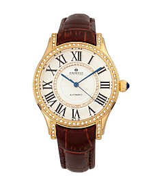 Empress Xenia Automatic Brown Leather Watch 35mm