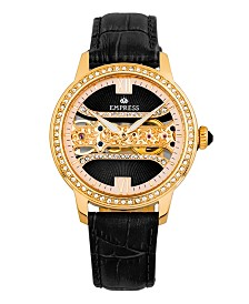 Empress Rania Mechanical Black Leather Watch 38mm