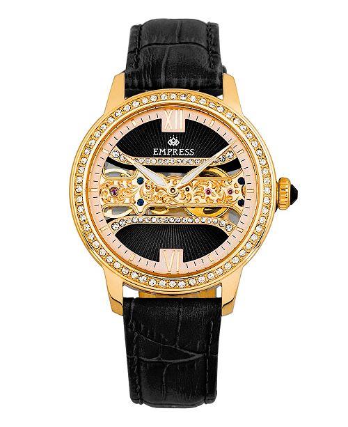 Empress Rania Mechanical Black Leather Watch 38mm