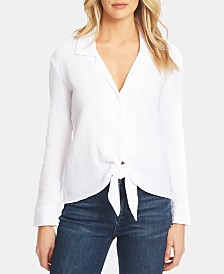1.STATE Button-Up Tie-Front Shirt