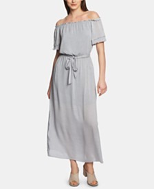 1.STATE Off-The-Shoulder Pinstriped Maxi Dress