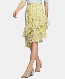 Blossom Printed Tiered Asymmetrical Skirt