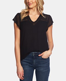 1.STATE Lace-Trim V-Neck Top