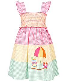 Good Lad Little Girls Tiered Gingham Seersucker Dress