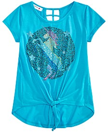 Beautees Big Girls Unicorn Tie-Front Top