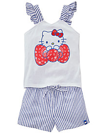 Hello Kitty Little Girls 2-Pc. Tank Top & Seersucker Shorts Set, Created for Macy's