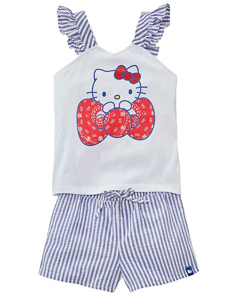 Hello Kitty Toddler Girls 2-Pc. Tank Top & Seersucker Shorts Set, Created for Macy's