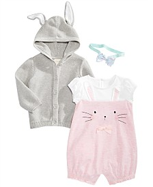 First Impressions Baby Girls Bunny Hooded Sweater & Rompers Separates, Created for Macy's