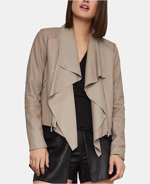 BCBGMAXAZRIA Drape-Front Leather Jacket