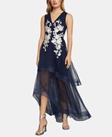 BCBGMAXAZRIA Lace-Appliqué Tulle Gown