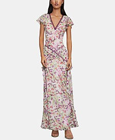 Floral-Print Ruffled Gown