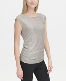 Calvin Klein Metallic Button-Shoulder Top