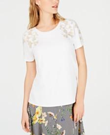 Calvin Klein Embroidered-Floral Top