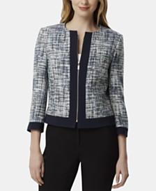 Tahari ASL Zip-Front Boucle Jacket